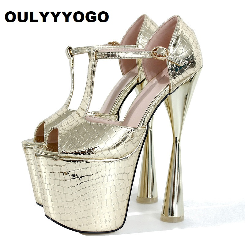 50a6bb9128b4 OULYYYOGO Ultra High Heels(20cm) with Platform Nightclub Female Sandals Sexy  Women Shoes Bling