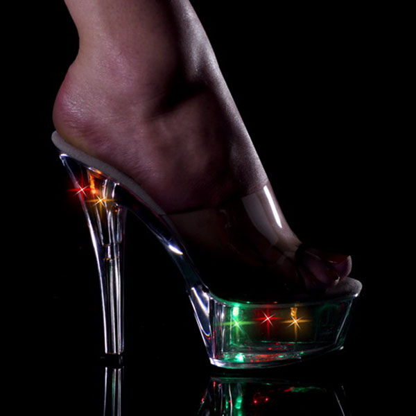 15cm sexy high-heeled shoes night light colorful crystal shoes ktv fun shoes dinner party sandals 6 inch nightclub Flash shoes 20cm high heeled shoes sexy shoes full transparent crystal bag sandals performance shoes 8 inch high heeled shoes