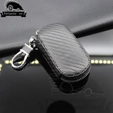 цена на Carbon fiber Leather Car Key Case Key Cover For Volvo Kia Honda BMW Audi Mercedes VW Lexus Mazda Nissan Chevrolet car-styling