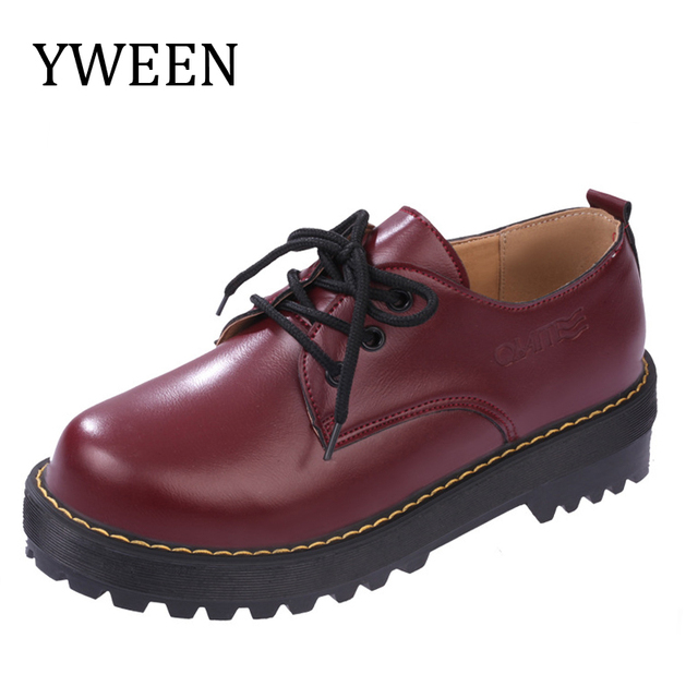 Spring And Autumn Women's Flat Shoes Women Lace-Up Platform Oxford shoes Round Toe Casual Shoes Woman