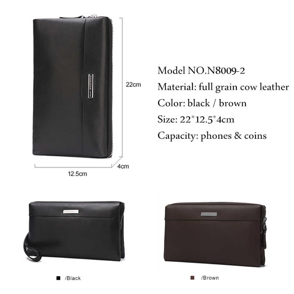 BISON DENIM portfel męski luksusowe długie sprzęgło poręczna torba Moneder mężczyzna skórzana portmonetka męska kopertówki zamek męski długi portfel N8009