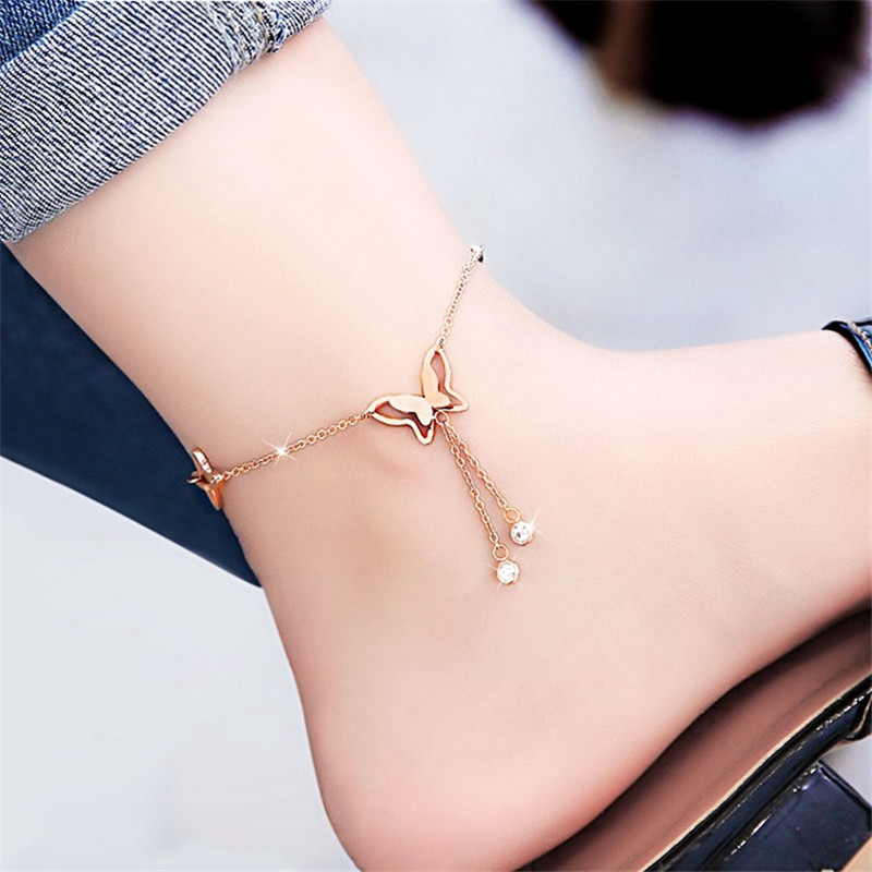 anklets with metal butterfly and rhinestone design