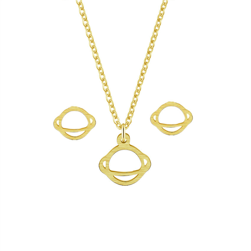 Stylish Satellite Star Wars Stud Earrings Pendant Necklace Women Men Boho Jewelry Set Stainless Steel Gold Silver Planet Schmuck