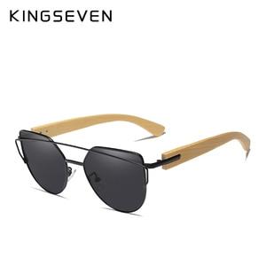 Image 5 - KINGSEVEN lunettes de soleil de marque œil de chat en bambou, monture métallique polarisée en bois, verres de luxe avec étui en bois pour femmes