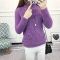 Женская Мода Сплошной Цвет Мохер Свитер Корейский Стиль Дамы Случайные Водолазки Трикотажные Пуловеры Femme Свитера 8 Цветов SW66