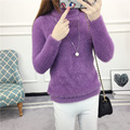 Moda Suéter de Mohair Color Sólido Estilo Coreano Casual de Las Señoras Suéteres de Cuello Alto Suéter de Punto Femme 8 Colores SW66