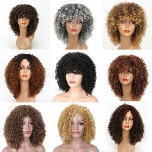 Image 3 - LISI CAPELLI Corti Ricci di Colore Nero Naturale Parrucche Per Le Donne Blacck Africano Acconciature Capelli Sintetici Ad Alta Temperatura In Fibra di
