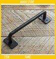 Железная ручка для двери в промышленном стиле  Металлическая черная ручка  ретро ручка для ворот  американская сельская местность  бесплатн...