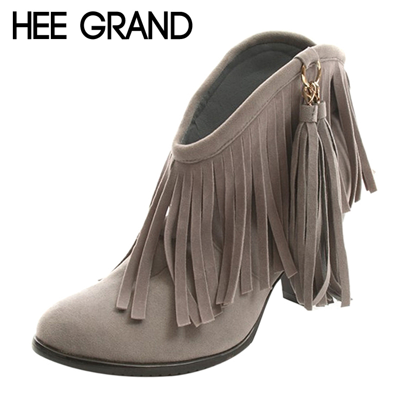 HEE GRAND Women Ankle Boots 2017 Autumn Fringe High Heels Boots Ladies Fashion Gladiator Tassel Shoes Woman Size 34-43 XWX483 morazora fashion punk shoes woman tassel flock zipper thin heels shoes ankle boots for women large size boots 34 43