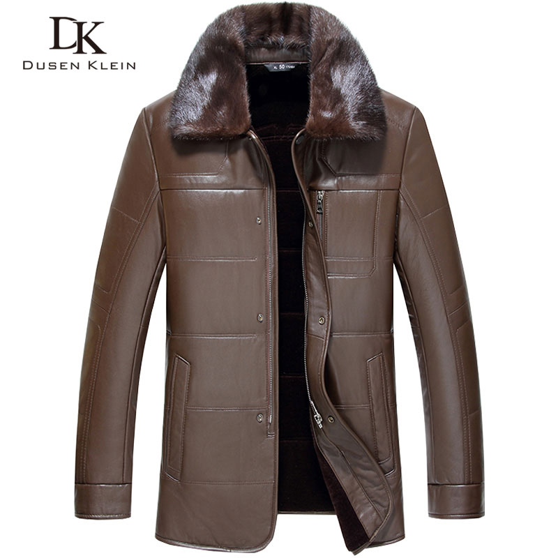 Brand Wool luxury Leather jacket men Dusen Klein New Genuine sheepskin wool liner Luxury Mink fur Collar  leather Coats 71J7872