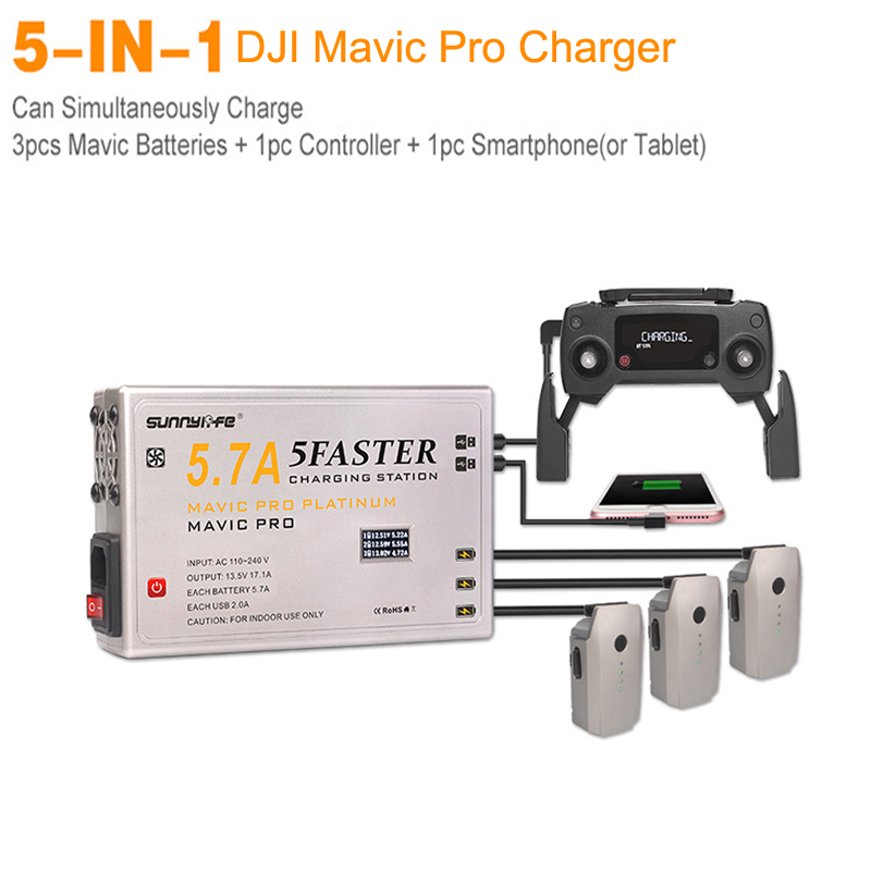 DJI Mavic Pro PLATINUM 5 IN 1 Battery Charger Controller 5.7A Large Current Support Smartphone Tablet Charger with OLED Display remote controller transmitter storage box for dji spark mavic pro