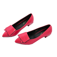 New Women Autumn Pumps Red Fashion High Quality Elegant Lady Pointy Toe Ballerina Ballet Med Heel Slip On Office Shoes