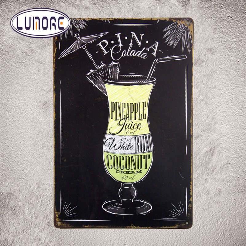 """pina Colada Pineapple Juice"" Vintage Tin Signs Bar Art"