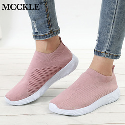 MCCKLE Women Plus Size Autumn Sneakers Flyknit Female Vulcanized Shoes Casual Slip On Flat Shoe Mesh Soft Walking Footwear