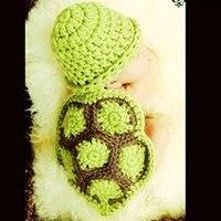 للجنسين الطفل القطن متماسكة السلاحف الكروشيه الأزياء صور التصوير الدعائم 0-6 أشهر طفل دش الهدايا