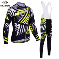 SIILENYOND Cycling Clothing winter thermal fleece men's Cycling jersey MTB bike suits maillot Ropa Ciclismo tenue cycliste homme