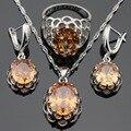 Amarelo orange cubic zirconia conjuntos de jóias para as mulheres colar de pingente de cor prata brincos anéis christams dom gratuito box