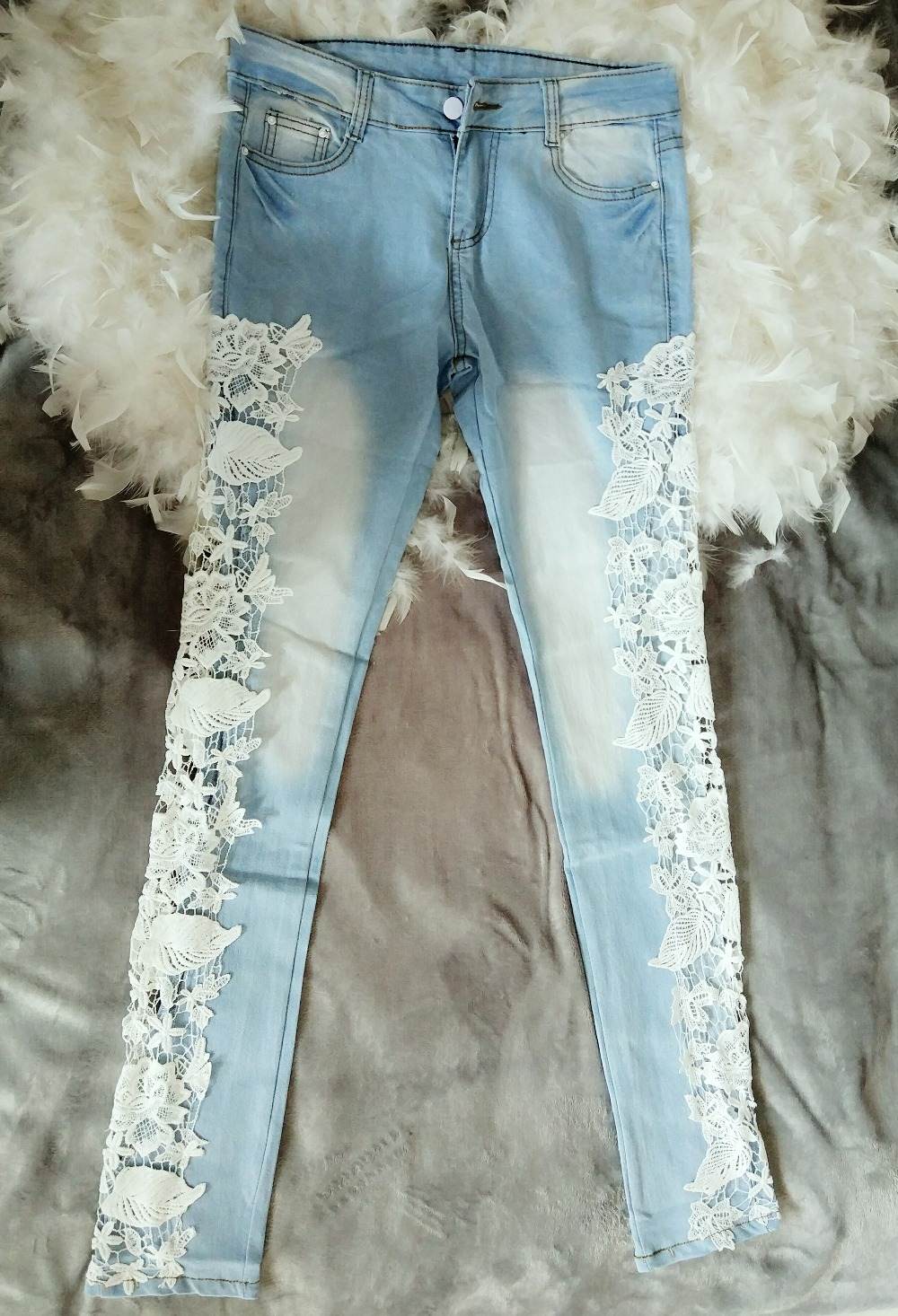 Women jeans patchwork lace floral 1