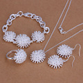 S250 925 sterling silver jewelry set fashion jewelry set Fireworks Ring Earrings Necklace Jewelry Set