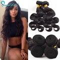 Benefício Da Malásia virgin cabelo tece onda do corpo da extensão do Cabelo Humano 4 pacotes/lote 100 g/pçs nenhum emaranhado molhado e produtos para o cabelo ondulado