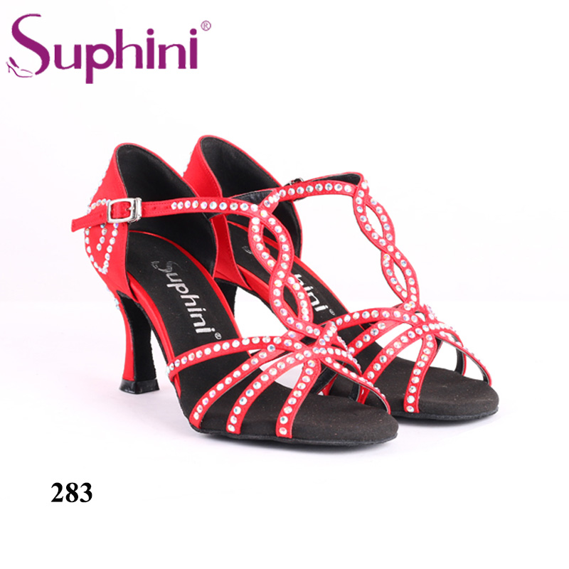 Red Woman Salsa Dance Shoes Suphini Flower Crystal Latin Dance Shoes Free Shipping
