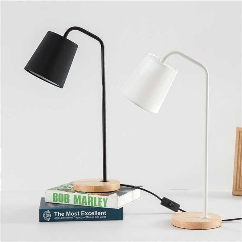 CLAITE Nordic Minimalist Creative Table Lamp USB LED Desk Lamp Bedroom Dormitory Modern Solid Wood Reading Light Desk Lamp