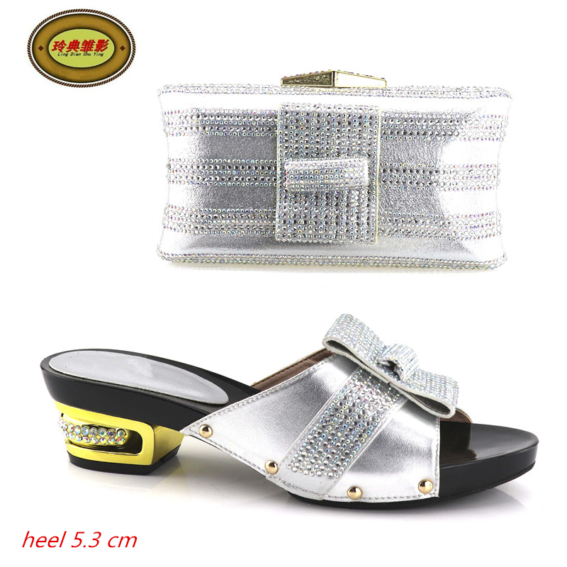 Фото YH04 Silver Free Shipping High Quality African High Heels Matching Bag Fashion Italian Shoes And Bag For Wedding