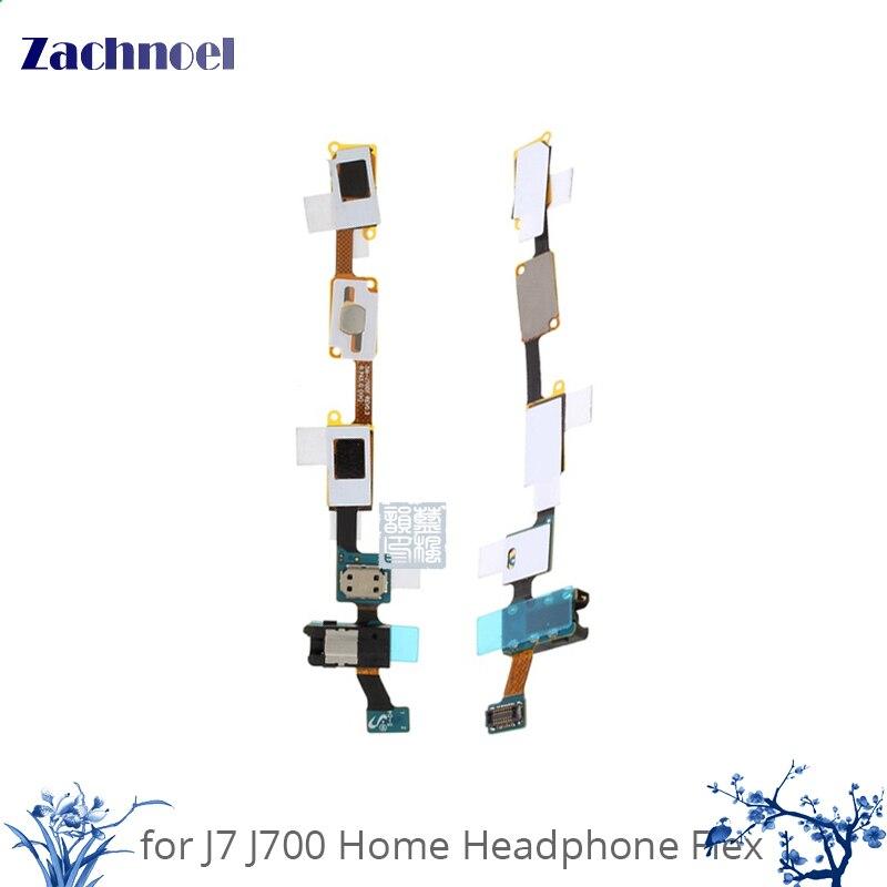 10pcs for Samsung Galaxy J7 J700 J700F J7008 Home Button + Earphone Jack Flex Cable Mobile Phone Parts