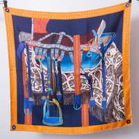 Zadel Oranje Sjaal Vrouwen Pure Twill Zijde 90*90 cm Handgemaakte Zomen Curling Zomer Lente Party Sjaals Shawl Wrap hoofdband