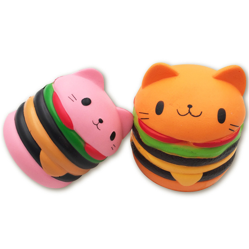 Cartoon Cat Burger Squishes Toy Squishy Slow Rising Squeeze Toy Charm Stress Reliever Toys For Children Stress Squeeze Toy