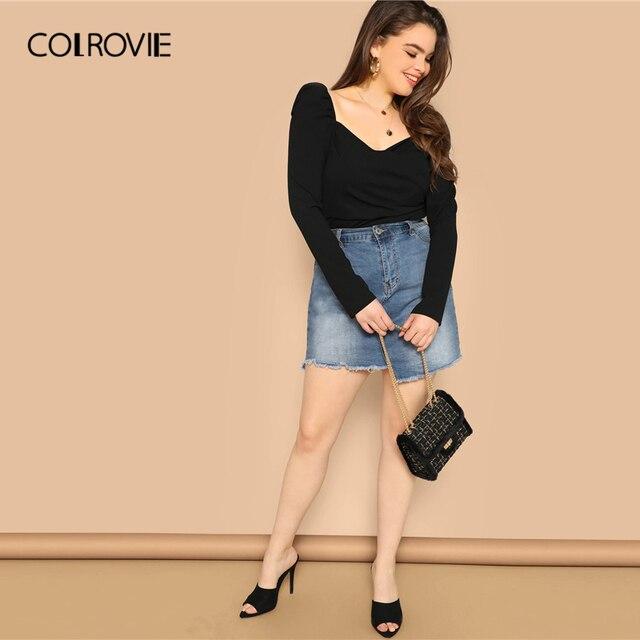 COLROVIE Plus Size Black Solid Sweetheart Elegant Women Blouse Shirts 2019 Spring Korean Puff Sleeve Office Ladies Casual Tops 4