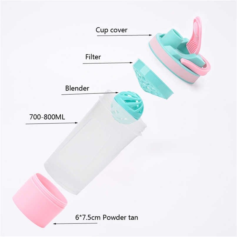 Botol Air Plastik Lucu Botella De Agua Olahraga Langsung Minum Shaker Botol Tur Portable Botol Air Shaker Protein
