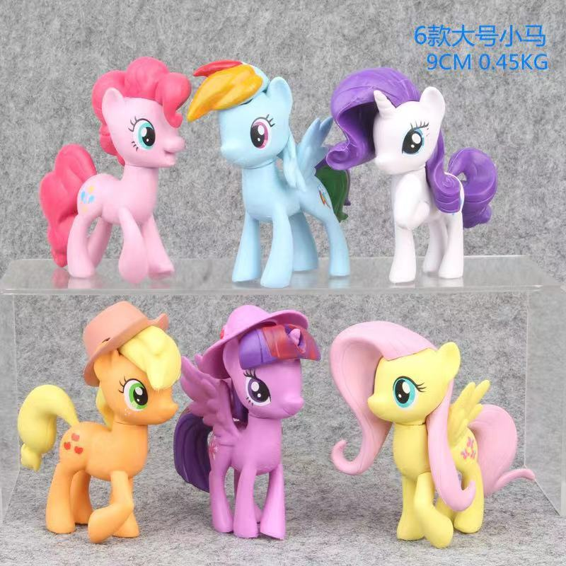6pcs 9cm Large My Little Pony Toys Rainbow Dash Rarity PVC Action Figure Collectible Model Doll For Kid Gifts