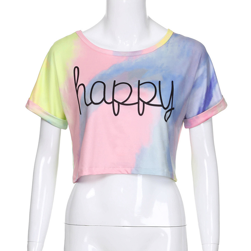2019 Summer Gradient Letter Print Crop top short sleeve Women T Shirts sexy vogue korean harajuku streetwear oversized happy Top in T Shirts from Women 39 s Clothing