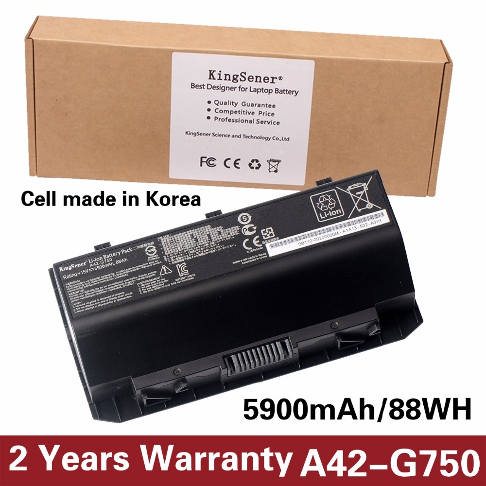 KingSener Korea Cell A42-G750 Laptop Battery for ASUS ROG G750 Series G750J G750JH G750JM G750JS G750JW G750JX G750JZ 15V 88WH laptop batteries for asus gl552 zx50 j jx j vw fx plus fx pro 6700 rog jx4720 rog v 4200 fx50jk 15v 4 cells