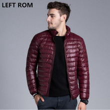LEFT ROM Fashion male Slim Fit Super light thin 90% White duck down down jacket/Men's pure color Stand collar Casual down coat
