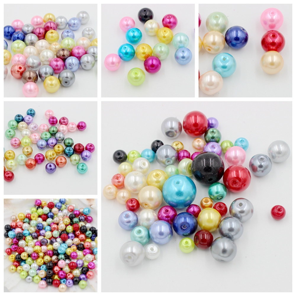 <font><b>4</b></font>,<font><b>6</b></font>,8 ,10,<font><b>12</b></font>,14MM Glass Imitation Pearl Beads Round Ball Bead 20-100PCS For DIY Bracelet Necklace Jewelry Findings Making image