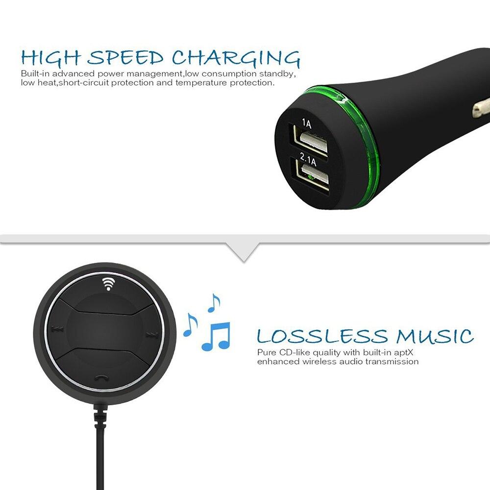 беспроводной автомобильный комплект Bluetooth версии v4.0 и NFC и AUX музыкальный приемник аудио адаптер громкой 3.5 мм встроенный микрофон с двойной порт USB зарядное устройство