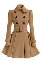 Европейская и американская мода новые зимние двубортные с длинными рукавами утолщенные средней длины Женское шерстяное пальто