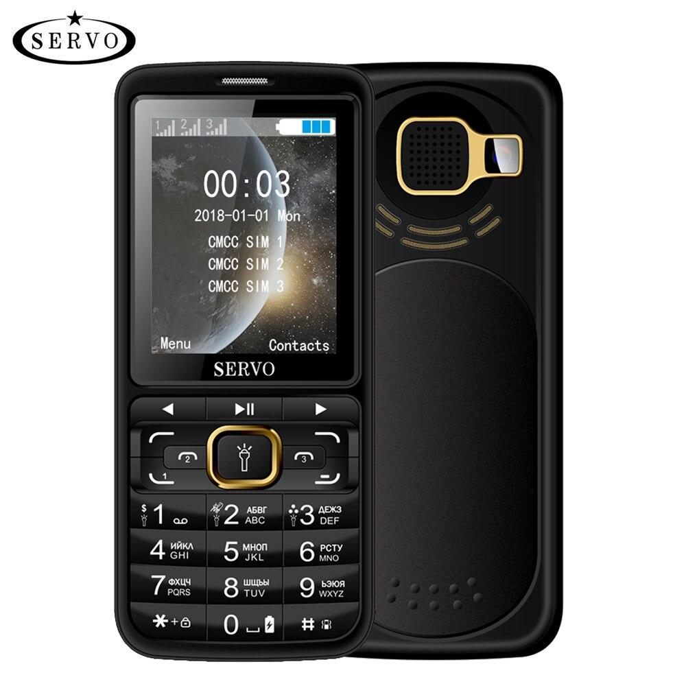 "SERVO S10 Mobile Phones 2.8"" HD 3 SIM Cards Big Speaker Purple Light 2500mAh Power Bank Cellphone With Mosquito Repellent Lamp"