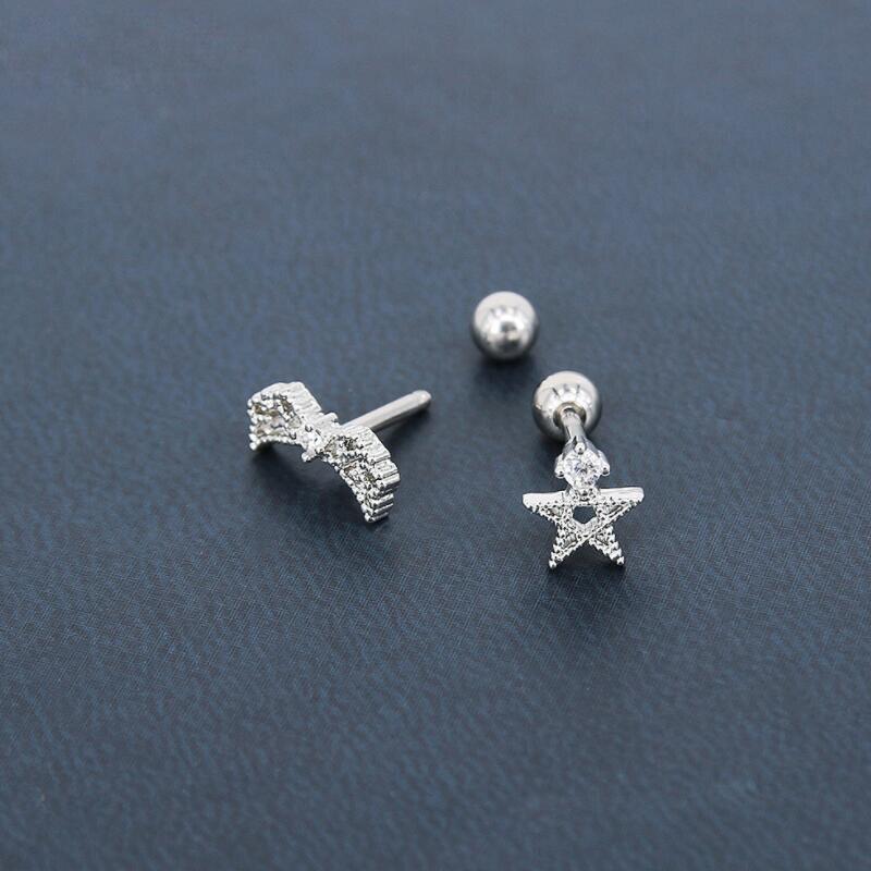 CZ Zircon Star Shape Ear Tragus/Cartilage Piercing Stud Zircon Earring 16g Piercing Body Jewelry