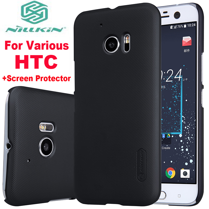 For Htc One M 8 9 10 Lifestyle Cases Nillkin Black Hard Case Cover For Htc One M8 M9 M10 10 U ultra play plus +Screen Protector