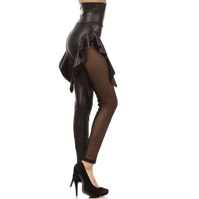 New Women High Waist Leggings PU Mesh Ruffles Patchwork Gothic Ball Party Punk Rock Sexy Bat Pants