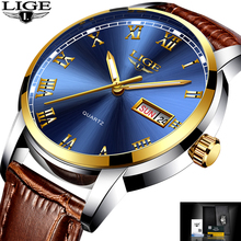 LIGE Luxury Brand Men's Quartz Wristwatches Fashion Casual Business Watch Leather Waterproof Sports Watch Man Relogio Masculino(China)