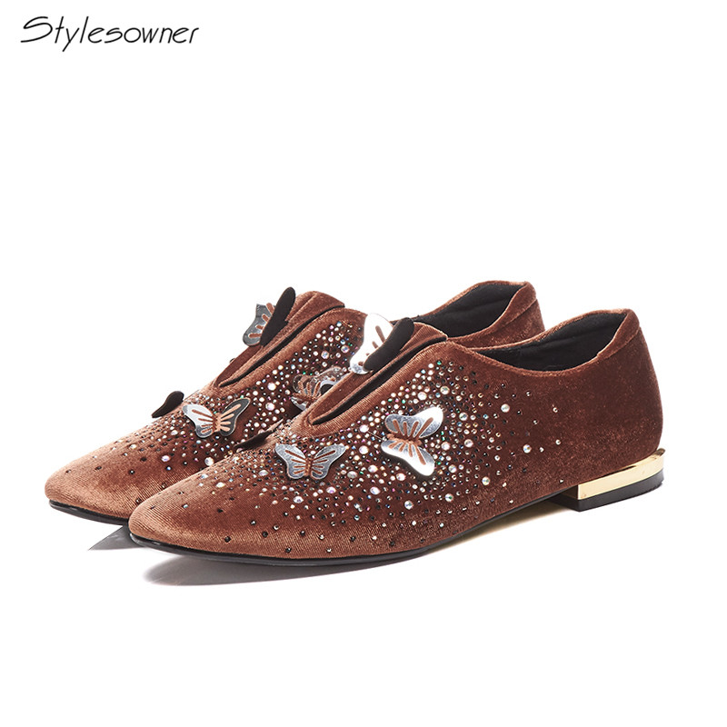 Stylesowner Women Metal Butterfly Bling Crystal Flat Shoes Bling Flat Casual Loafers Real   Leather     Suede   Crystal Comfort Flats