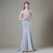 Sexy Silber Meerjungfrau Abendkleider Lange 2018 Abendkleid Scoop Appliques  Sicke Formelle Party Kleid Prom Fertigen Jede Farbe d1e6180266