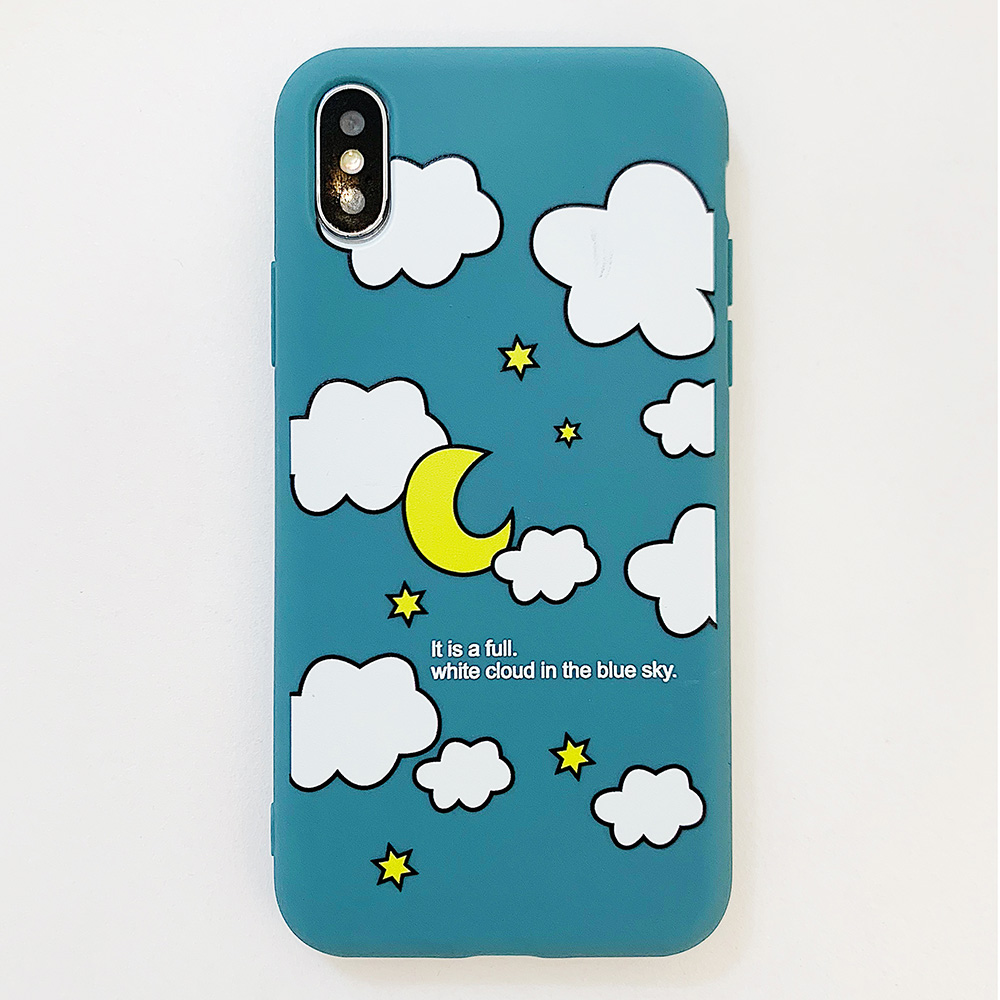KIPX1114L_1_JONSNOW Matte Phone Case for iPhone XS Max X XR Cases White Clouds Pattern Soft Silicone Cover for iPhone 6 6S 6P 7 8 Plus