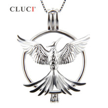 CLUCI 925 Sterling Silver Phoenix Bird Cage Pendants for pearls, wholesale Jewelry Accessories 3pcs, Exerion charms(China)