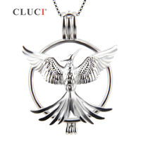CLUCI 925 Sterling Silver Phoenix Bird Cage Pendants For Pearls Wholesale Jewelry Accessories 3pcs Exerion Charms