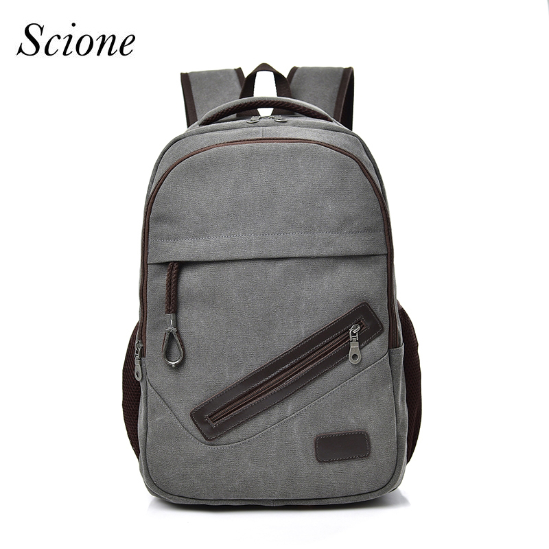 SCIONE Large Backpack Men Canvas Backpacks School Bags For Teenagers Boys Male Travel Laptop Backbag Mochila Grey Rucksack